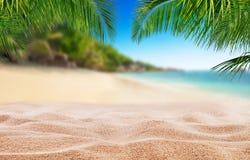 Tropischer Strand mit Sand, Sommerferienhintergrund lizenzfreies stockbild