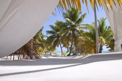 Tropischer Strand mit Trennvorhängen Stockfoto