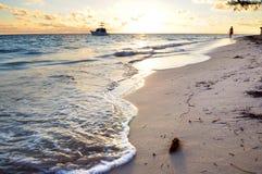 Tropischer Strand am Sonnenaufgang Stockfotografie