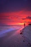 Tropischer Strandsonnenuntergang Lizenzfreies Stockbild