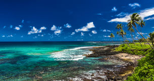Tropischer vulkanischer Strand auf Samoa-Inseln mit Palmen, Upolu Stockfotos