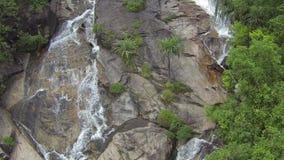 Tropischer Wasserfall, Vögel und Palmen Luftzeitlupevideo stock video footage