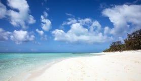Tropischer weißer Sandstrand und blauer Ozean mit Kristallwasser Lizenzfreies Stockbild