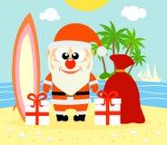 Tropischer Weihnachtshintergrund mit Santa Claus Lizenzfreie Stockbilder