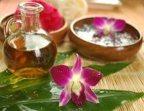 Tropisches Badekurort- und Massageschmieröl stockfotografie