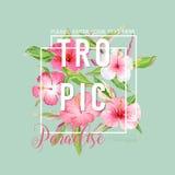 Tropisches Blumen-Grafikdesign - für T-Shirt, druckt Mode, Stockbild