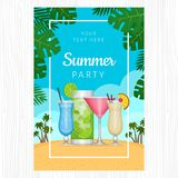 Tropisches Cocktail des Sommers mit Palmblättern Cocktailpartyplakat lizenzfreie abbildung