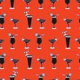 Tropisches Cocktail-Glas-nahtloses Vektor-Muster, gezeichnete Bar-Getränke vektor abbildung