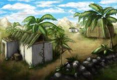 Tropisches Dorf lizenzfreie abbildung