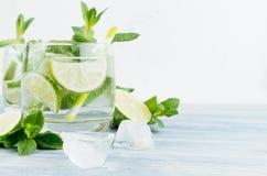 Tropisches frisches kaltes Cocktail mit Minze, Kalk, Eis, Stroh auf hellem weißem Hintergrund, Kopienraum, Nahaufnahme stockfotos