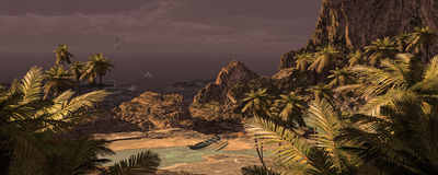 Tropisches Insel-und Ausleger-Kanu Lizenzfreies Stockbild