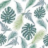 Tropisches modisches nahtloses Muster mit exotischen Pflanzenblättern Lizenzfreie Stockbilder