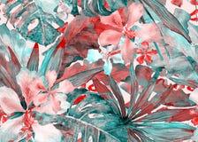 Tropisches Muster Aquarellthailand-Palme, monstera, Hibiscus, Bananenstaude vektor abbildung