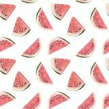 Tropisches Muster des nahtlosen Handgezogenen schönen Aquarells mit Wassermelone stock abbildung