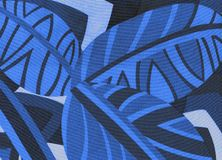 Tropisches Muster, verlässt nahtlosen blauen Hintergrund stock abbildung
