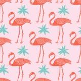 Tropisches nahtloses Muster der Flamingos und der Blumen des Vektors auf rosa Hintergrund lizenzfreie abbildung