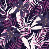 Tropisches nahtloses Muster mit hellen Blättern und Anlagen auf einem dunklen Hintergrund ENV 10 Dschungeldruck Gewebe und Drucke stock abbildung