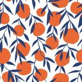 Tropisches nahtloses Muster mit roten Orangen Ein Ananasschnitt geschnitten zur Hälfte Heller Druck des Vektors für Gewebe oder T stock abbildung