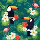 Tropisches nahtloses Muster mit Tukanen, Flamingos, exotischen Blättern und Blumen Stockfoto