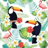 Tropisches nahtloses Muster mit Tukanen, Flamingos, exotischen Blättern und Blumen Stockfotos