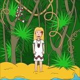 Tropisches Palm Beach und Mädchen Lizenzfreies Stockbild