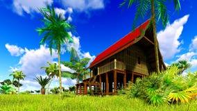 Tropisches Strandhaus in der Wiedergabe der Tropen 3d Stockfotografie
