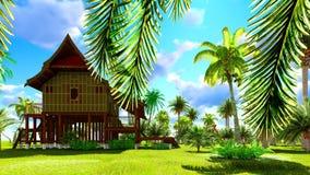 Tropisches Strandhaus in der Wiedergabe der Tropen 3d Stockfoto