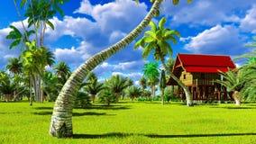 Tropisches Strandhaus in der Wiedergabe der Tropen 3d Lizenzfreies Stockbild
