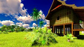 Tropisches Strandhaus in der Wiedergabe der Tropen 3d Stockfotos