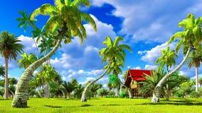 Tropisches Strandhaus in der Wiedergabe der Tropen 3d Stockbilder