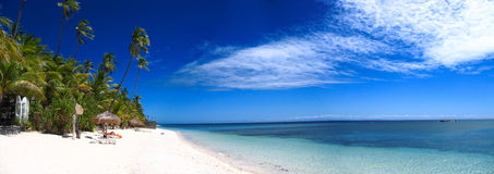 Tropisches Strandpanorama Stockbild
