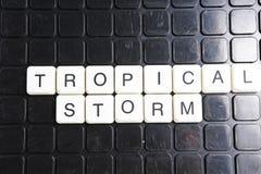 Tropisches Sturmtiteltext-Wortkreuzworträtsel Alphabetbuchstabe blockiert Spielbeschaffenheitshintergrund Weiße alphabetische Buc Lizenzfreies Stockfoto