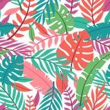 Tropisches Vektorgrün lässt nahtloses Muster Exotische Tapete Palmen mit dem Meer und dem hölzernen Brett stock abbildung