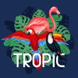Tropisches Vogeldruckdesign mit Palmblättern Stockfotografie