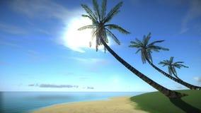 Tropisk ö för strand i sommartiden stock illustrationer