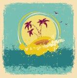 Tropisk ö för tappning. Abstrakt bild Fotografering för Bildbyråer