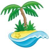 Tropisk ö för tecknad film. Fotografering för Bildbyråer