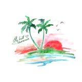 Tropisk ö för vattenfärg Arkivbilder