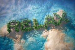 Tropisk ö i havet med träd som kopplar av tecken Royaltyfri Fotografi
