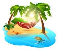 Tropisk ö och hängmatta bland palmträd royaltyfri illustrationer
