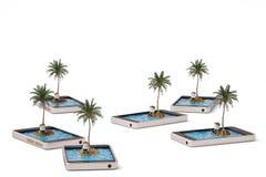 Tropisk ö på ensamt begrepp för mobiltelefon illustration 3d Royaltyfria Foton