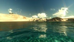 Tropisk ö, par på stranden, kamerafluga över havet och sander, tidschackningsperiod royaltyfri illustrationer
