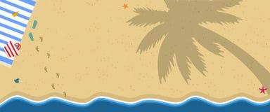 Tropisk ö Sandy Beach med handduken, Flip Flops stock illustrationer