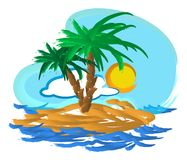 Tropisk öillustration