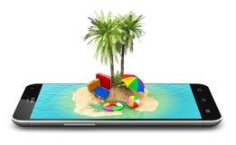 Tropisk ösemesterort på smartphoneskärmen Fotografering för Bildbyråer