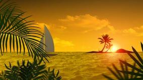 Tropisk ösolnedgång, palmträd stock illustrationer