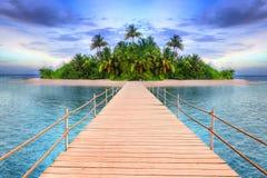 Tropisk ö av Maldiverna Arkivfoton