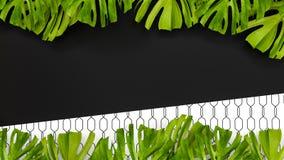Tropisk bakgrund för färg med djungelväxter framförande 3d 3d il stock illustrationer