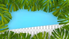 Tropisk bakgrund för färg med djungelväxter framförande 3d 3d il vektor illustrationer