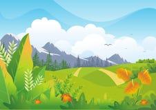 Tropisk bakgrund för natur med älskvärd landskapdesign stock illustrationer